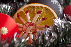 Christmas decoration. Christmas traditional decoration with orange Stock Photography