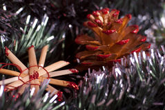 Christmas decoration. Christmas traditional decoration with pine cone Stock Photos