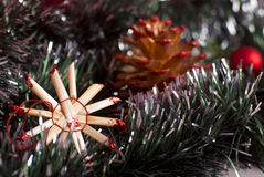 Christmas decoration. Christmas traditional decoration with pine cone Stock Images