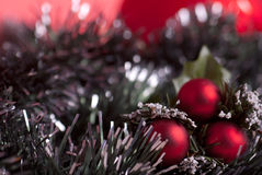 Christmas decoration. Christmas traditional decoration with red balls Royalty Free Stock Image