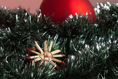 Christmas decoration. Christmas traditional decoration with straw star Stock Photography