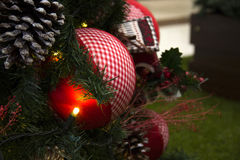 Christmas decoration with tree and ball with lights. Royalty Free Stock Photography