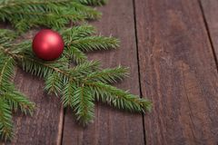 Christmas decoration tree with ball on wooden background royalty free stock photos