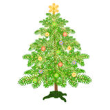 Christmas decoration tree with baubles vector. Christmas decoration tree with baubles and gold  snowflakes vector illustration Stock Photography