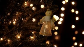 Christmas decoration on tree with bokeh lights.  stock footage