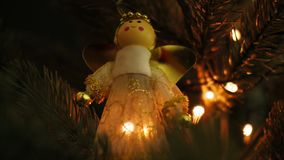 Christmas decoration on tree with bokeh lights.  stock video