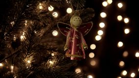 Christmas decoration on tree with bokeh lights in Christmas time.  stock video footage