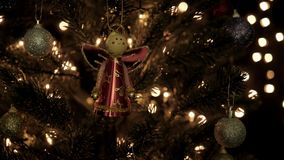 Christmas decoration on tree with bokeh lights in Christmas time.  stock footage