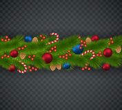 Christmas decoration from Christmas tree branches, garlands, con. Es,   caramel sticks, viburnum Royalty Free Stock Image