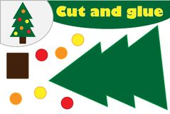 Christmas decoration tree cartoon, education game for the development of preschool children, use scissors and glue to create the vector illustration