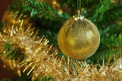 Christmas decoration on the tree with gold chain Royalty Free Stock Image