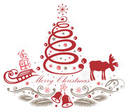 Christmas decoration. With christmas tree and moose Royalty Free Stock Photo