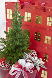 Christmas decoration tree in red pot Royalty Free Stock Photos