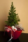 Christmas decoration tree in red pot Royalty Free Stock Image