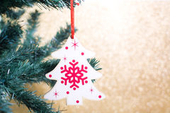 Christmas decoration with tree shape on the Christmas tree Stock Photography