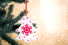 Christmas decoration with tree shape on the Christmas tree Royalty Free Stock Images