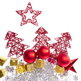 Christmas decoration with trees and balls Stock Photo