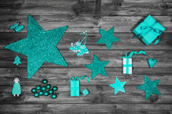 Christmas decoration in turquoise colors on wooden old shabby ba Stock Photos