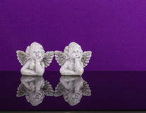 Christmas decoration. Two dreamily angels twin Stock Photo