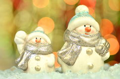 Christmas decoration, two figures of snowman Royalty Free Stock Photos