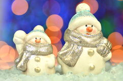 Christmas decoration, two figures of snowman Stock Photos