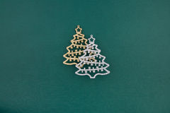 Christmas decoration two firs Royalty Free Stock Image