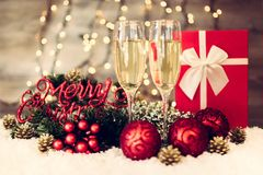 Christmas decoration with two glasses of champagne Stock Image