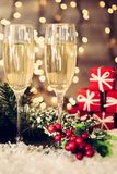 Christmas decoration with two glasses of champagne Stock Photo
