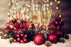 Christmas decoration with two glasses of champagne Royalty Free Stock Image