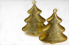 Christmas decoration - two gold glass trees Royalty Free Stock Photos
