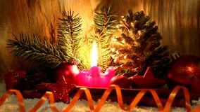 Christmas decoration und Advent candle. stock video