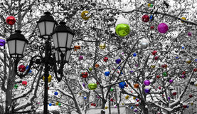 Christmas decoration under the snow royalty free stock photos