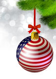 Christmas decoration from USA baubles on white Stock Images