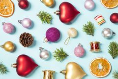 Christmas decoration. Various Christmas ornaments on blue background stock photo