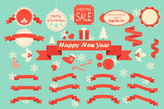 Christmas decoration vector design elements. Collection. Labels and frames, ribbons set Royalty Free Stock Images