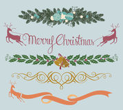 Christmas decoration. Vector illustration of christmas decoration with three more choices of original typo greetings in eps 10 format Royalty Free Stock Image