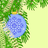 Christmas decoration vintage blue baubles vector Royalty Free Stock Photo