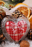 Christmas decoration with vintage heart Royalty Free Stock Photos