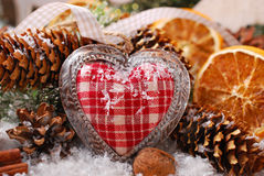 Christmas decoration with vintage heart Royalty Free Stock Images
