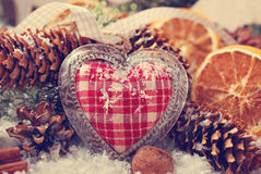 Christmas decoration with vintage heart Stock Photos