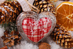 Christmas decoration with vintage heart Stock Image