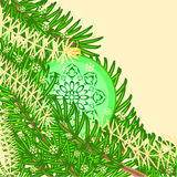 Christmas decoration vintage rosette green baubles vector Royalty Free Stock Photos