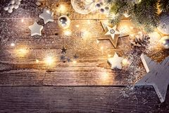 Christmas decoration in vintage style at old Stock Images