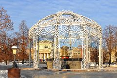 Christmas decoration of Vitali fountain 1835 in Park on Revolution Square. Moscow, Russia.  stock photography