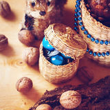 Christmas decoration with walnuts and squirrel Royalty Free Stock Photography
