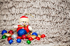 Christmas decoration on warm background with snowman Royalty Free Stock Image