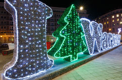 Christmas decoration on the Warsaw Insurgents Square Royalty Free Stock Photo