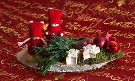 Christmas decoration Weihnachtsgesteck. Mit Sternen und Kugeln Stock Photo