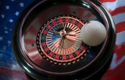 Christmas decoration on the wheel of a roulette on a background Royalty Free Stock Images