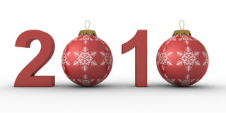 Christmas decoration on white background. 2010 year. Isolated 3D image Royalty Free Stock Photo